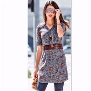 Cabi Provential Blue and brown dress